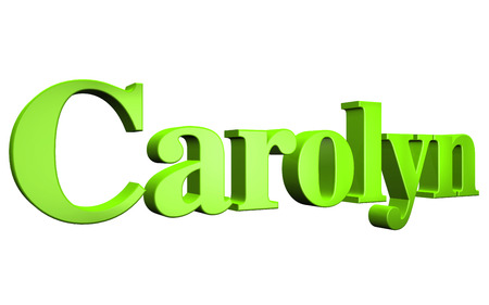 3D Carolyn text on white background