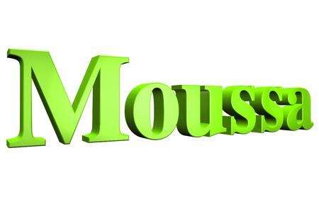3D Moussa text on white background