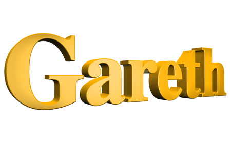 3D Gareth text on white background