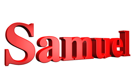 samuel: 3D Samuel text on white background Stock Photo