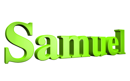samuel: 3D Samuel text on white background Stock Photo