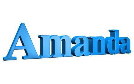 amanda: 3D Amanda text on white background
