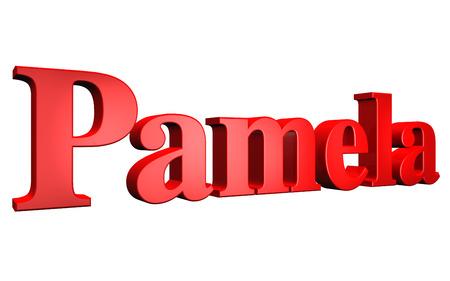3D Pamela text on white background Stock Photo