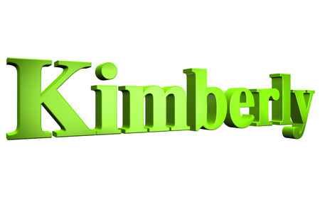 3D Kimberly text on white background