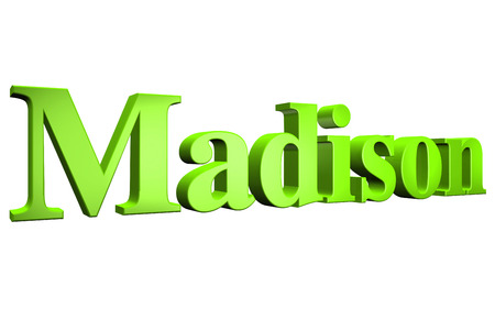 3D Madison text on white background