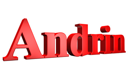 3D Andrin text on white background