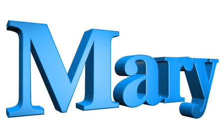 3D Mary text on white background