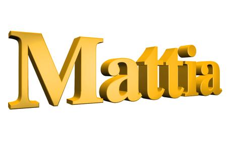 3D Mattia text on white background Stock Photo