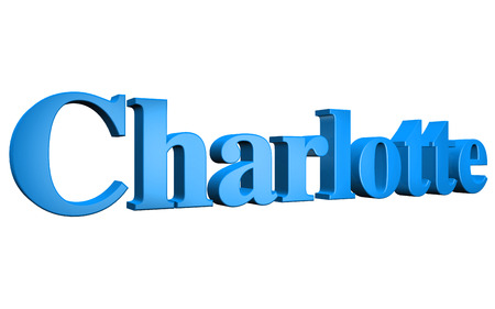 3D Charlotte text on white background