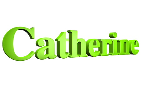 3D Catherine text on white background