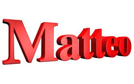3D Matteo text on white background Stock Photo