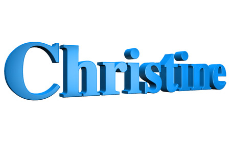 3D Christine text on white background