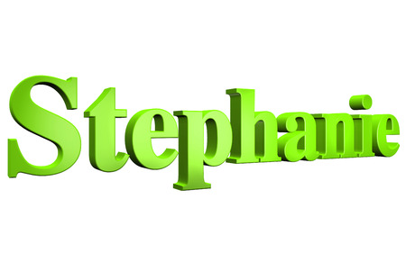 3D Stephanie text on white background