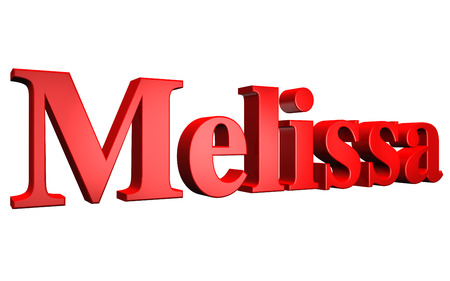 3D Melissa text on white background