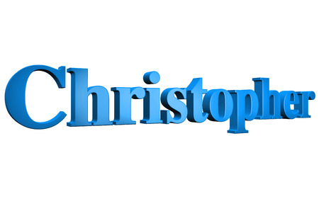 3D Christopher text on white background