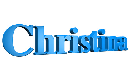 christina: 3D Christina text on white background