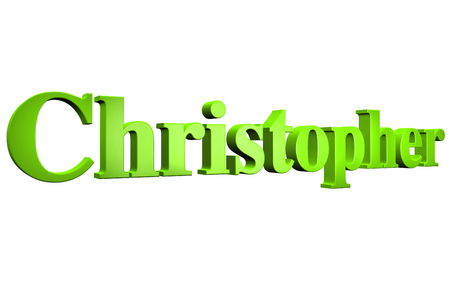 christopher: 3D Christopher text on white background