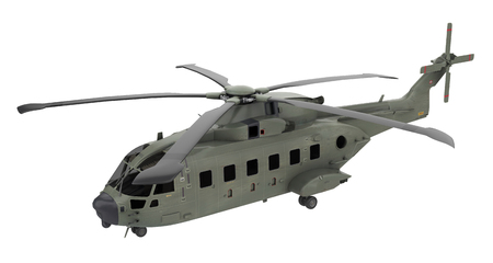 Military helicopter isolated on White background - 3d rendering