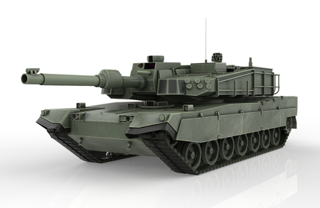 Military Tank isolated on white background – 3D Render