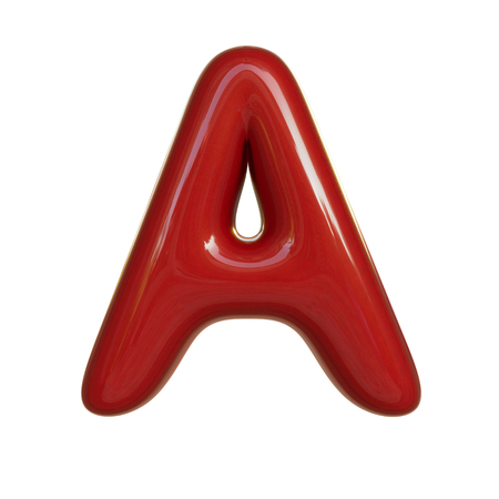 Glossy red paint letter A. 3D render of bubble font isolated on white background