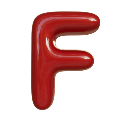 Glossy red paint letter F. 3D render of bubble font isolated on white background