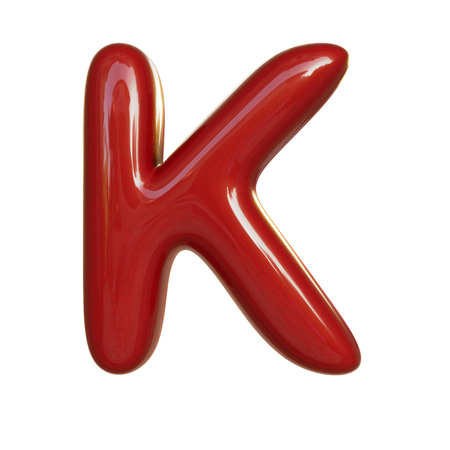 Glossy red paint letter K. 3D render of bubble font isolated on white background