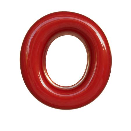 Glossy red paint letter O. 3D render of bubble font isolated on white background