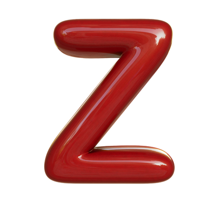 Glossy red paint letter Z. 3D render of bubble font isolated on white background