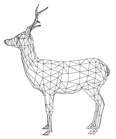 Deer polygonal lines illustration. Abstract vector deer on the white background Zdjęcie Seryjne - 103789898