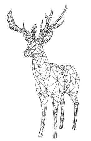 Deer polygonal lines illustration. Abstract vector deer on the white background Zdjęcie Seryjne - 103789900