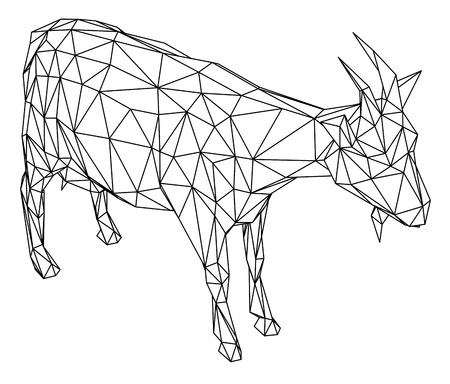 Goat polygonal lines illustration. Abstract vector goat on the white background