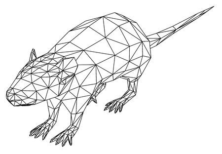 Rat polygonal lines illustration. Abstract vector rat on the white background Ilustracja