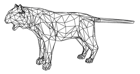 Tiger polygonal lines illustration. Abstract vector tiger on the white background Ilustracja
