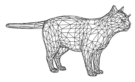 Cat polygonal lines illustration. Abstract vector cat on the white background