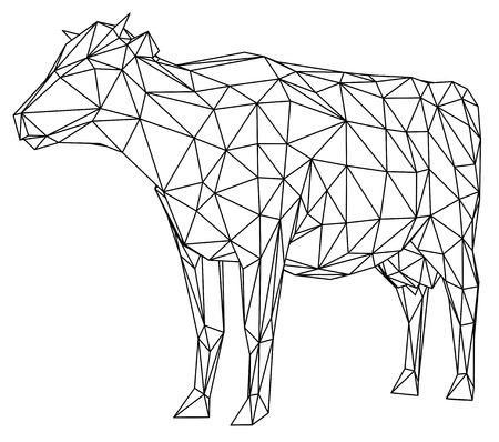 Cow polygonal lines illustration. Abstract vector cow on the white background Zdjęcie Seryjne - 103790338