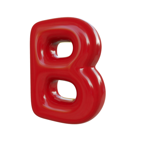 Glossy red letter B. 3D render of balloon font isolated on white background Zdjęcie Seryjne