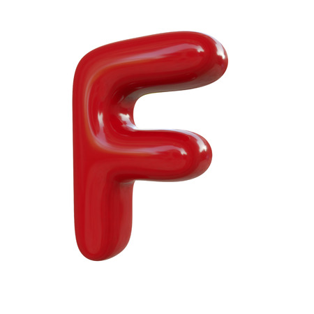 Glossy red letter F. 3D render of balloon font isolated on white background