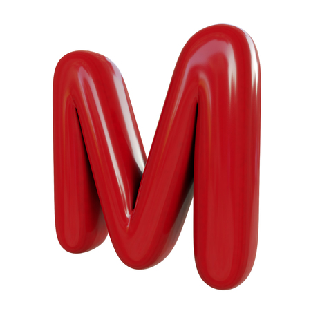 Glossy red letter M. 3D render of balloon font isolated on white background Zdjęcie Seryjne