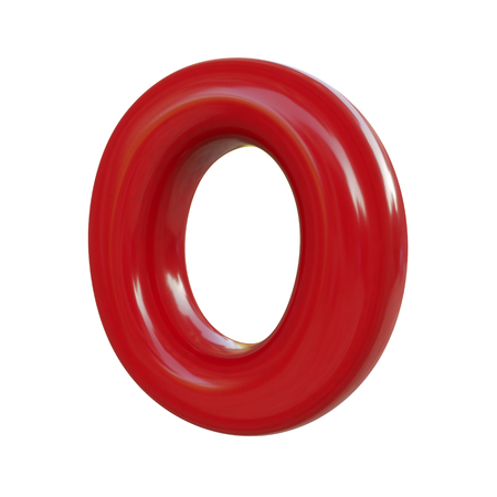 Glossy red letter O. 3D render of balloon font isolated on white background