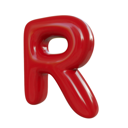 Glossy red letter R. 3D render of balloon font isolated on white background Zdjęcie Seryjne