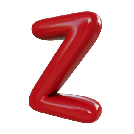 Glossy red letter Z. 3D render of balloon font isolated on white background