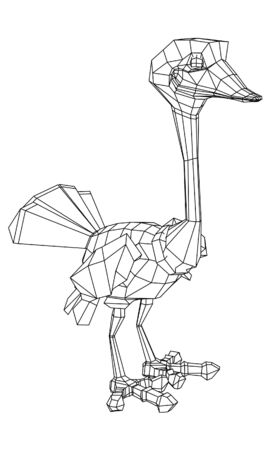 Cartoon ostrich polygonal lines illustration. Abstract vector ostrich on the white background