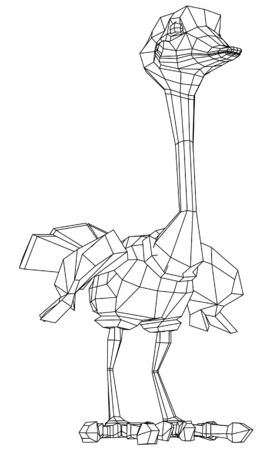 Cartoon ostrich polygonal lines illustration. Abstract vector ostrich on the white background Çizim