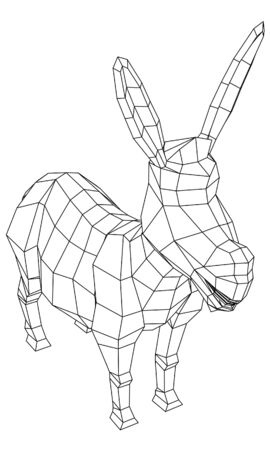 Cartoon donkey polygonal lines illustration. Abstract vector donkey on the white background