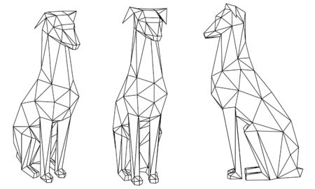 Dog polygonal lines illustration. Abstract vector dog on the white background Ilustrace