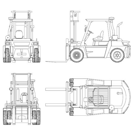 Forklift outline vector. Special machines for the building work. Vettoriali