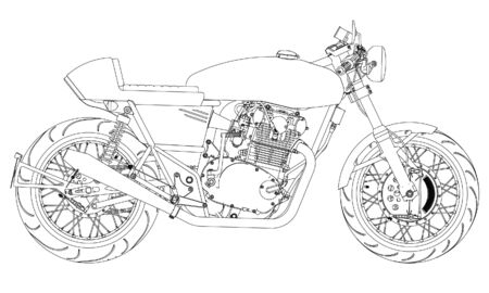 Motorcycle outline vector illustration for coloring book
