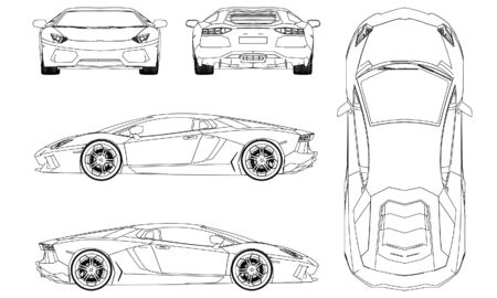 Sport car in outline. Sport vehicle template vector isolated on white. Vektorové ilustrace