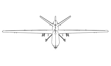 Drone outline vector. Military vehicle template vector isolated on white.