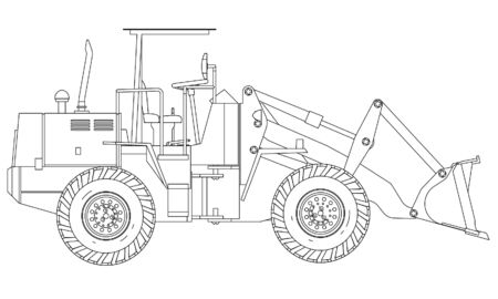 Wheel Loader outline vector. Special machines for the building work.